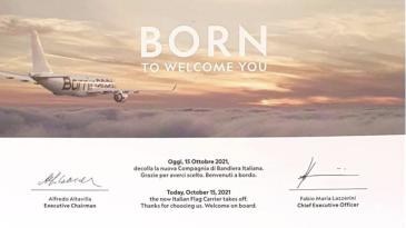 Ita, ai primi passeggeri un biglietto di ringraziamento dalla nuova compagnia